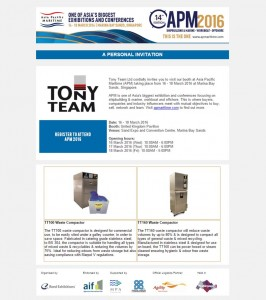Tony Team invite you to APM Singapore 16-18th March 2016
